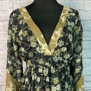 Jonathan Martin Floral Kimono Dress with tie waist